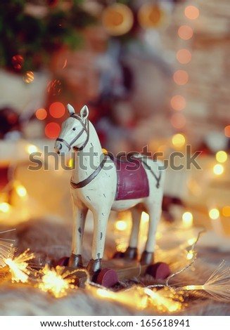 horse in the chain - stock photo