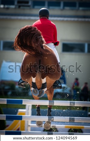 Horse jumping - stock photo