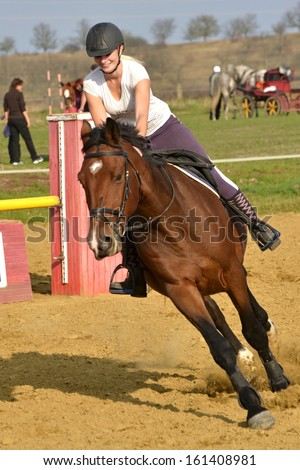 horse jumping - stock photo