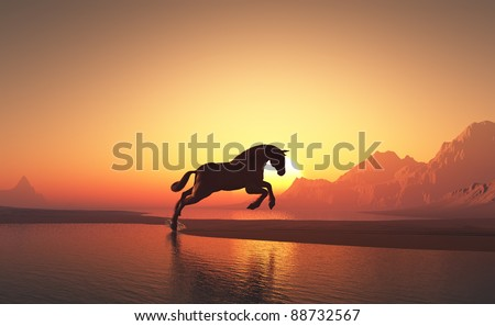 Horse on a background of blue sky. - stock photo