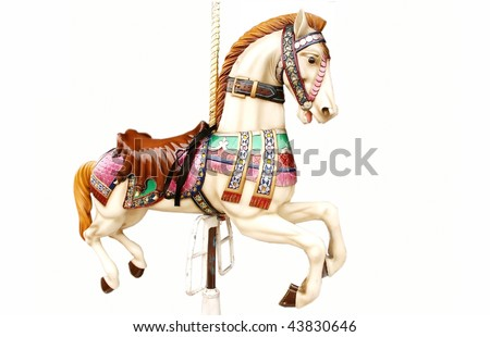Horse on merry-go-round - stock photo
