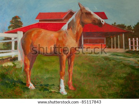 horse painting oil on canvas