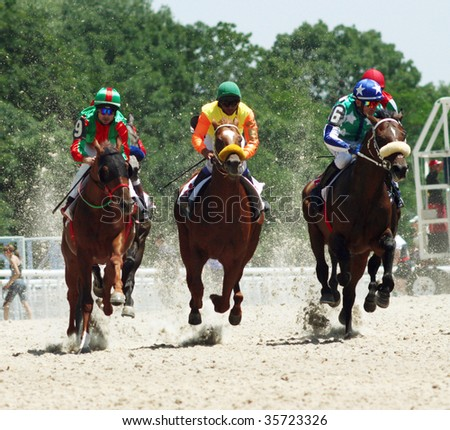 Horse race. Hippodrome in Pyatigorsk,Northern Caucasus,Russia.