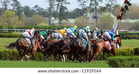 horse racing finish line - stock photo