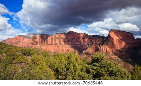 Horse Ranch Mountain and Nagunt Mesa at Kolob Canyons in Zion Canyon National Park, Utah. - stock photo