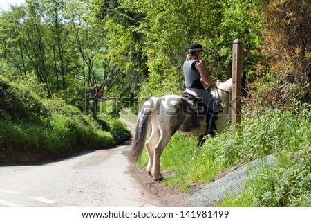 Horse rider making use of the sign posted bridleway - stock photo