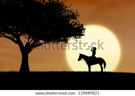 Horse rider silhouette at sunset beside the tree - stock photo