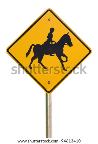 Horse rider warning traffic sign isolated on a white background - stock photo