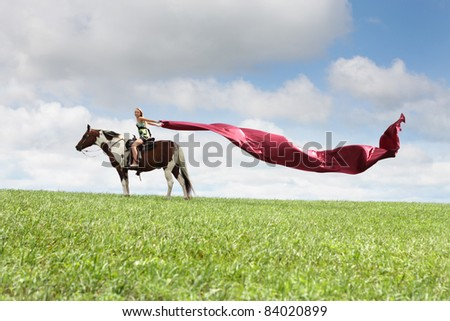 Horse rider with flying textile - stock photo