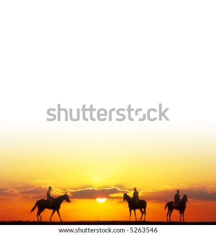 horse riders background - stock photo