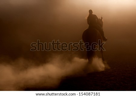 Horse riding in the dust with backlighting - stock photo