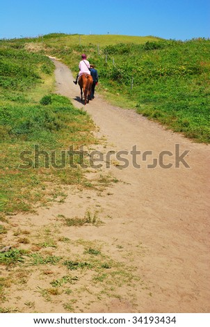 Horse riding on a sandy track overgrown with grass - stock photo