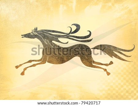Horse running with joy, aged drawing. - stock photo