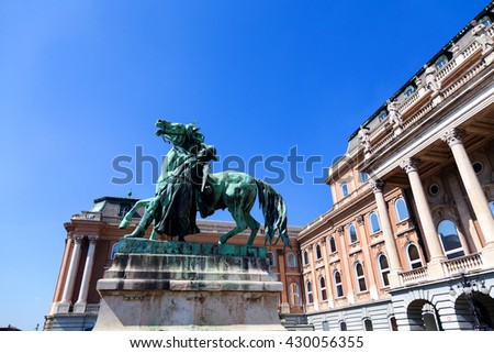 Horse sculpture - a monument to Prince Eugene of Savoy and the former royal residence in Budapest - stock photo