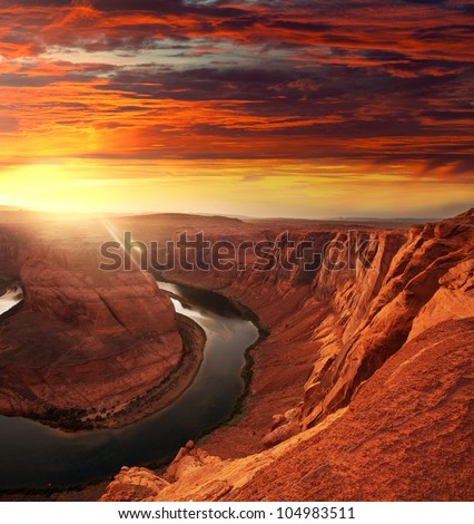 Horse Shoe Bend at sunset - stock photo