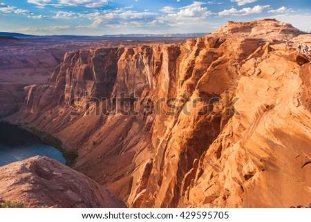 Horse Shoe Bend of Colorado River, near Page, Arizona, USA - stock photo