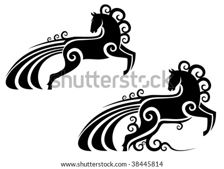 Horse silhouette as a mascot - abstract emblem. Vector version also available