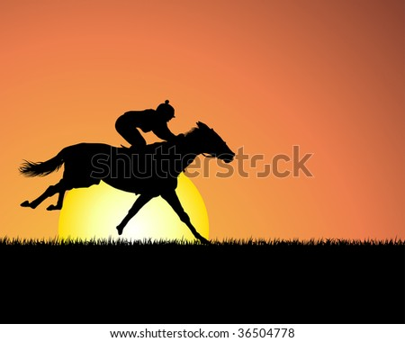 Horse silhouette on sunset background. In my portfolio also available vector version of this picture.