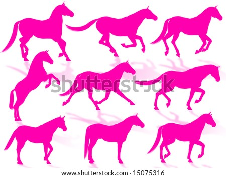 Horse silhouettes in different poses and attitudes - stock photo