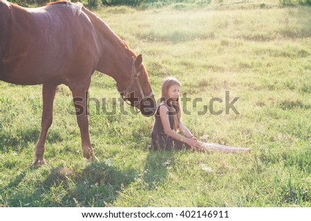Horse sniffing his mistress on the sunlit field - stock photo