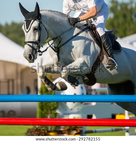 Horse Sports, Equestrian, Jumping - stock photo