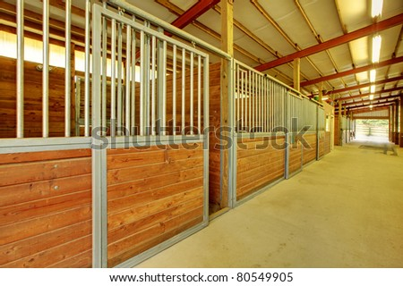 Horse stables at private covered arena