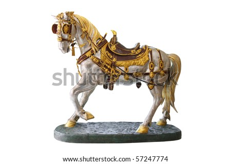 Horse statue isolated on white - stock photo