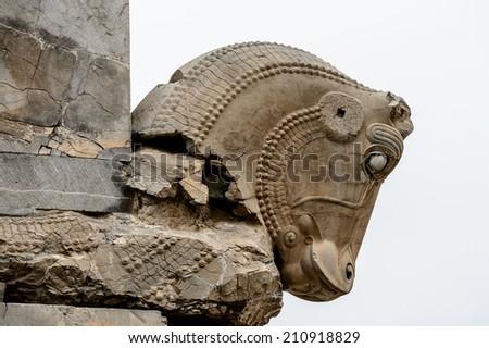 Horse statue of Persepolis, the ceremonial capital of the Achaemenid Empire. UNESCO World Heritage - stock photo