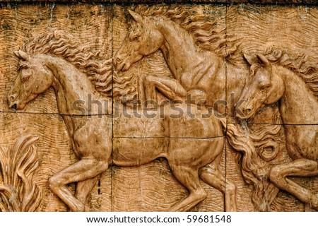 Horse stucco wall - stock photo