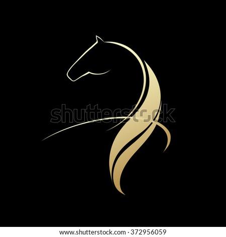 Horse symbolic logo element - stock photo
