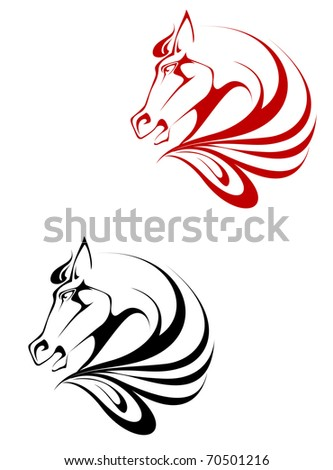 Horse tattoo symbol for design isolated on white - also as emblem or logo template. Vector version also available in gallery in gallery - stock photo