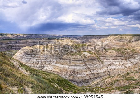 Horse Thief Canyon carved out by the Red Deer river, located North of Drumheller Alberta, Canada