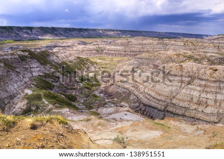 Horse Thief Canyon carved out by the Red Deer river, located North of Drumheller Alberta, Canada - stock photo