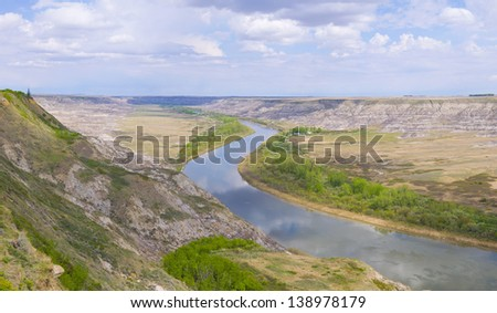 Horse Thief Canyon carved out by the Red Deer river, located North of Drumheller Alberta, Canada (File stiched together using RAW files, no streching or upsizing inloved) - stock photo