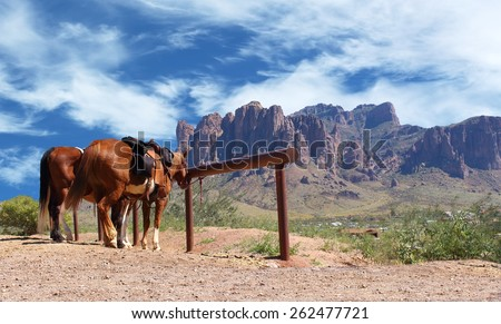 Horse tied to a post in a Wild West cowboy town. Off in the distant background desert, cactus, and large red mountain range   - stock photo
