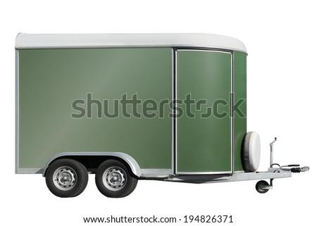 Horse transport  box trailer - stock photo