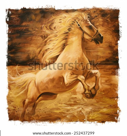Horse Vintage painting  gold Torn edges - stock photo