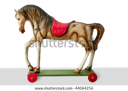 Horse wooden colorful toy for children retro vintage - stock photo