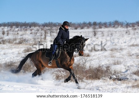 Horseback riding in winter field - stock photo