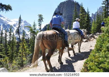 Horseback trail riding in lake Louise area, canada