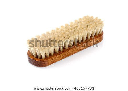 horsehair brush isolated over white background, horsehair brush for leather shoe polishing.