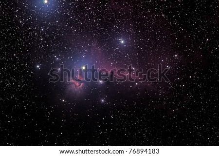 Horsehead And Flaming Tree Nebula - stock photo