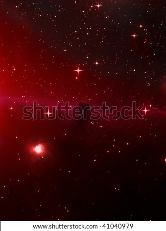 Horsehead Nebula (IC 434) in the Belt of the Constellation Orion - stock photo