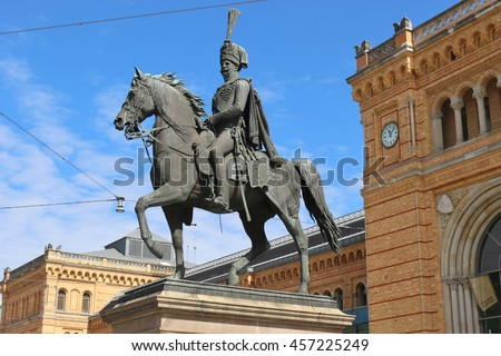 Horseman statue of the former king of Hanover Ernst August II. in front of the main station. In the city Hanover, North Germany, Europe.