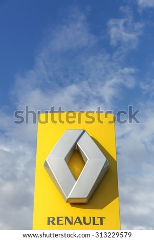 Horsens, Denmark - September 3, 2015: Renault logo. Renault is a french multinational automobile manufacturer established in 1899. The company produces a range of cars and vans. - stock photo
