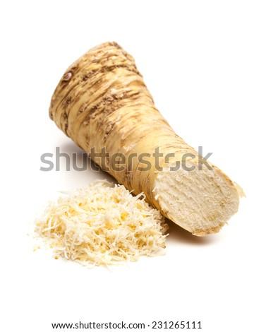 Horseradish root and grated horseradishh - stock photo
