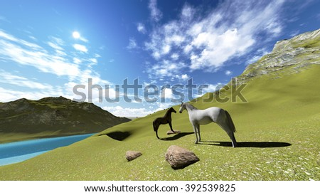horses and animals with mountains river landscape illustrations