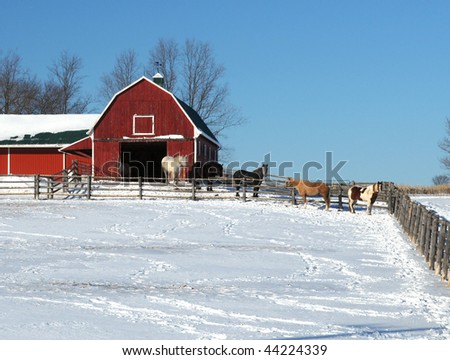 Horses Red Barn Stock Shutterstock