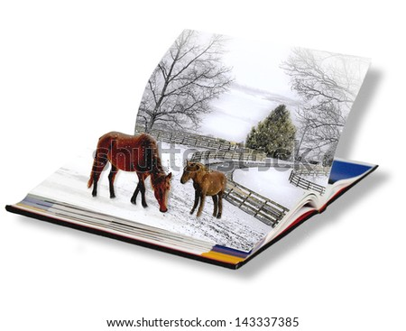 Horses on horse farm during a winter storm seemingly come to life in a book - Fantasy concept of books actually coming to life. - stock photo