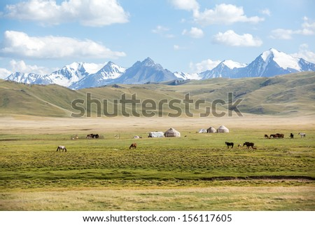 Horses pasturing in mountains near yurts - stock photo